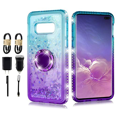 Case for Girls, 6goodeals Ring Kickstand with Strap, Liquid Glitter Shock Proof Phone Case Waterfall Quicksand Bling Sparkle for Samsung Galaxy S10 [Value Bundle] (Purple) ()