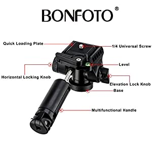 """BONFOTO B73A 58"""" Portable Aluminum Alloy Lightweight Camera Travel Tripod and Monopod with Panorama Pan Head,Quick Release Plate and Carry Bag for Smartphones and Most DSLR Cameras with 1/4"""" Screw"""