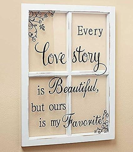 Amazon.com: LOVE STORY White Wooden Window Pane Frame Sentiment ...