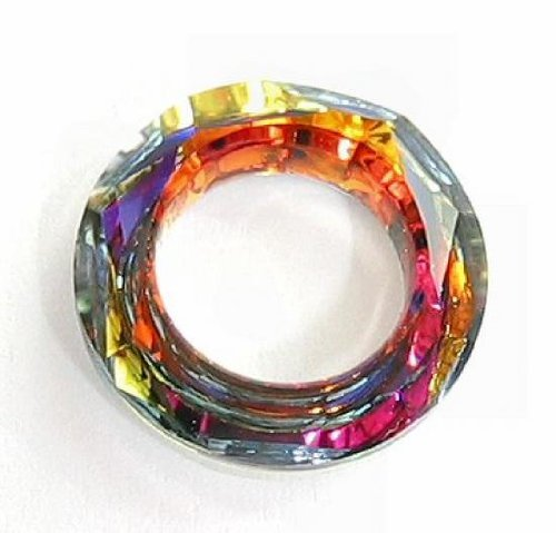 - 1 pc Swarovski Crystal 4139 Round Cosmic Ring Frame Charm Pendant Volcano 20mm / Findings / Crystallized Element
