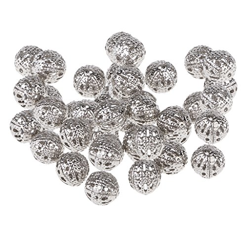 ed Hollow Filigree Round Ball 8mm Metal Spacer Beads for Jewelry Making Findings Pack of 100 Pcs ()