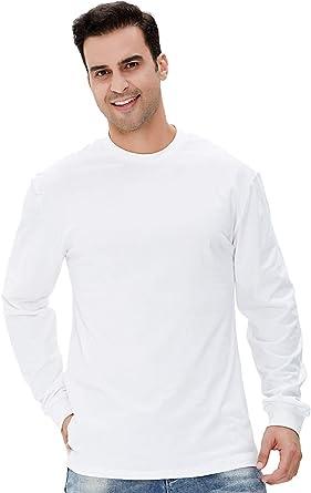 COSAVOROCK Camiseta Hombre Manga Larga Algodón Cuello Redondo (S, Blanco): Amazon.es: Ropa y accesorios