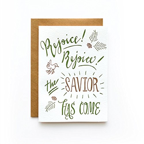 Rejoice Rejoice- Set of 6 Letterpress Greeting Cards Christmas Cards (Stationery Rejoice)