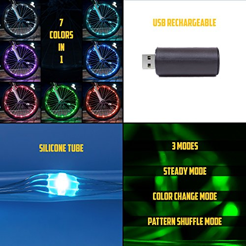 Bright Spokes Premium LED Bike Wheel Lights | 7 Colors in 1 | USB Rechargeable Battery | Strong Silicone Tube Cover | 18 Modes | Best Gift for all ages | 5, 6, 7, 8, 9 + year old boy gifts (1 Tire) by Gear Nation (Image #7)