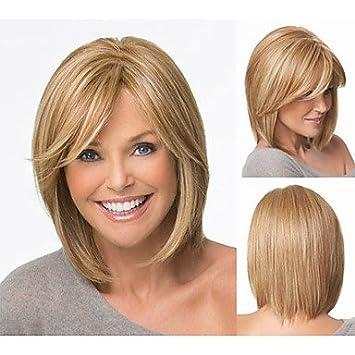 GSP-cortes de pelo bob pelucas sintéticas cortas pelucas rubias rectas para mujeres pelucas llenas con flequillo , multicolor: Amazon.es: Deportes y aire ...