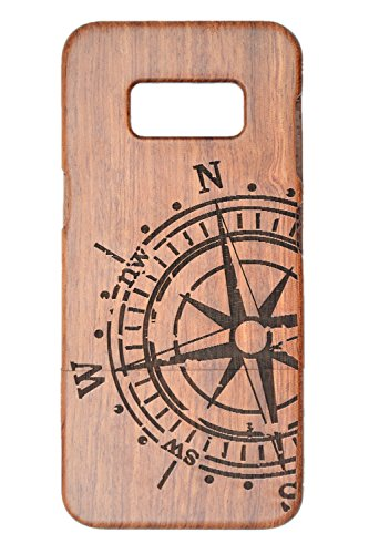 PhantomSky Wood Case Compatible with Samsung Galaxy S8 Plus S8+, Premium Quality Handmade Natural Wood Cover - Rosewood Compass