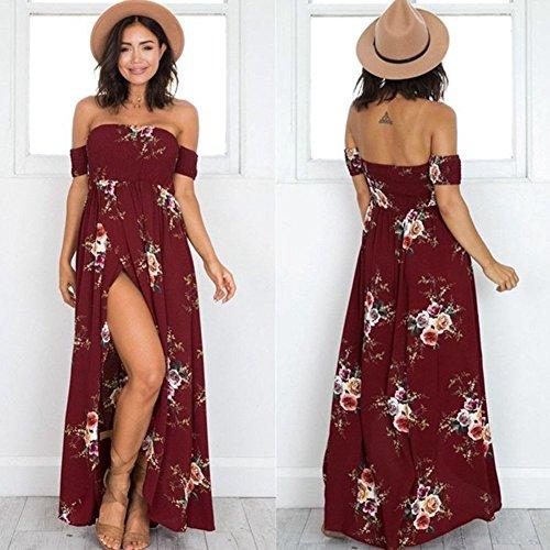 Fiesta Playa Sexy la Vestido de Vestido de Elegante Tinto florales sin Palabra Tirantes Mujer Hombro Cóctel Traje Vino con W7zqR44f0