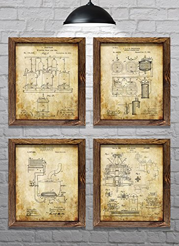 """Gifts for Beer Drinkers - Vintage Beer Brewing Method Patents - Set of Four - 8x10"""" Prints - Perfect gift for Beer Lovers! (set#2)"""