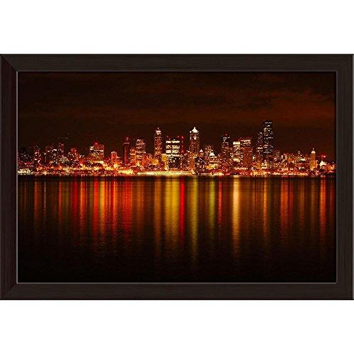 (Pitaara Box Seattle Skyline Reflected in Water, Washington USA Canvas Painting Dark Brown Frame 23.7 X 16Inch)
