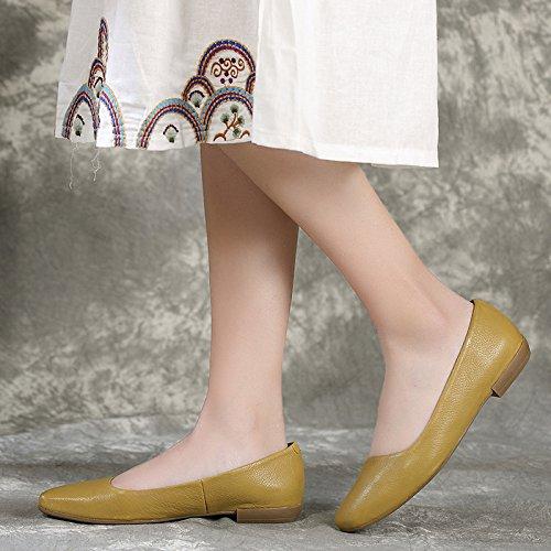 Cabeza de Plana Zapatos Cuadrado Mano ZFNYY Pedal Retro Mujer Personalizado Moda Hecho de a qzwwvBR
