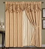 "Luxury Dallas Jacquard Panel with attached valance 120"" x 84"" + 18"""