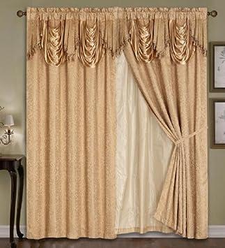 Amazon.com: Luxury Dallas Jacquard Panel with attached valance 120 ...