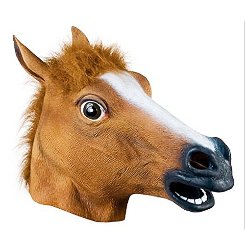 Not So Scary Halloween Party Costumes (My Horse Head|Realistic Latex Animal Head Mask for Party Costume|358.2)