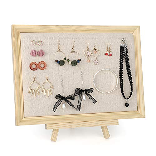 Hanging Jewelry Display Board Organizer, Framed Linen Pad Jewelry Holder for Earring Necklaces Bracelets Studs Rings and Accessories with Pearl Pins 12.6 ()