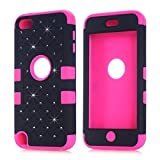 Vogue Shop Silicone Design Bumper Slim Hard Back Case Cover Compatible with Apple iPod Touch 5 - (Black/Rose)