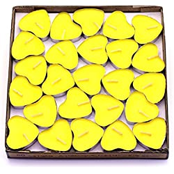 CREATIONTOP Scented Candles Tea Lights Mini Hearts Home Decor Aroma Candles Set of 50 pcs mini candles (Yellow(Lemon))
