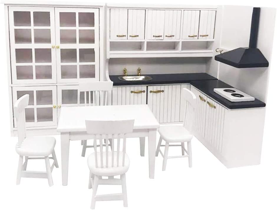NLGToy 1:12 Miniature Kitchen Mini Dollhouse Mini Kitchen Dining Table and Chair Cabine,DIY Pretend Play Doll House Childrens Toys Girls Gifts