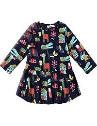 Little Girls Long Sleeve Cotton Casual Cartoon Print Fall Dress