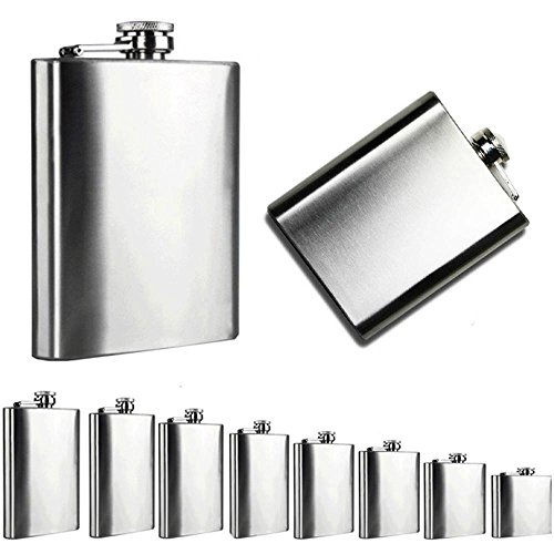 FTXJ Portable Stainless Steel Pocket Hip Flask Alcohol Whiskey Liquor Screw Cap (6 oz) (Open Bar Hip Flask)