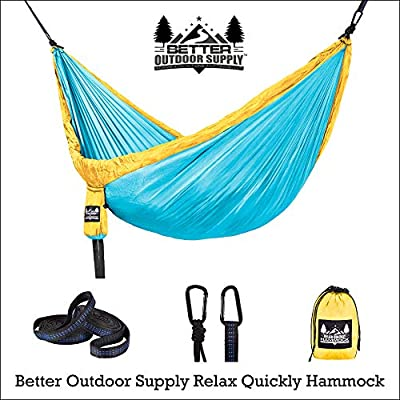 Better Outdoor Supply Camping Hammock Kit Single & Double with Tree Straps - Durable - Lightweight - Used for- Relaxing Indoor/Outdoor-Travel Portable Multiple Colors: Sports & Outdoors