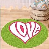 VROSELV Custom carpetGroovy Decorations Heart Illustration on Paisley Background Centre of Love Nutrient Retro Design Bedroom Living Room Dorm Decor Green White Pink Round 72 inches