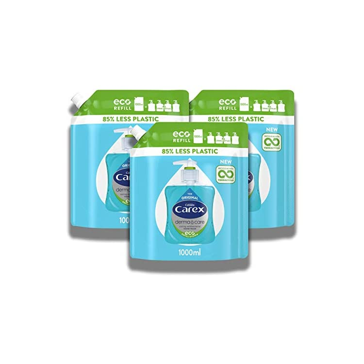 Carex Antibacterial Original Dermacare Hand Wash Liquid Soap Refill, Pack of 3 Handwash Pouches, Bulk Buy Hand Soap…