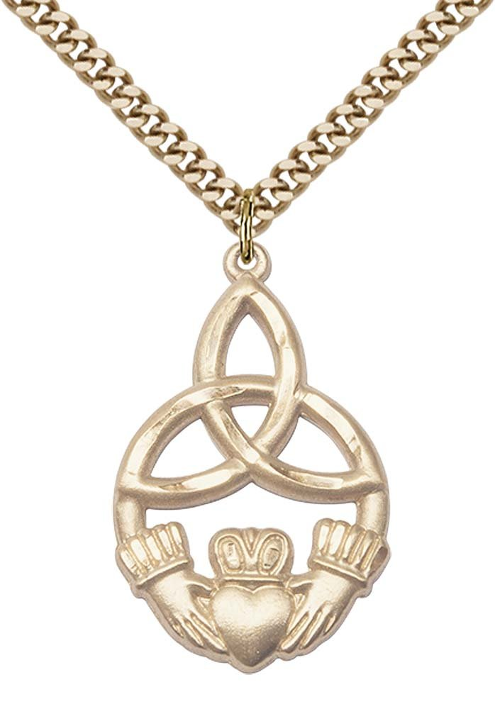 Gold Filled IRISH KNOT / CLADDAGH Pendant 1 1/4 X 3/4 inches with Heavy Curb Chain Bliss Manufacturing 5102GF/24G