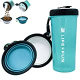 LIFE4FUN Dog Water Bottle Walking Food Container 2 in 1 Dog Water Bowl Collapsible, Travel Dog Water Dispenser Pets, (XL Size, Blue)