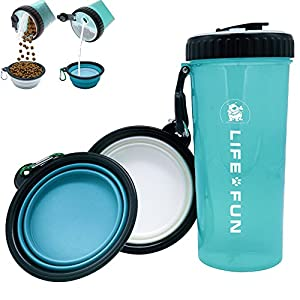 LIFE4FUN Dog Water Bottle for Walking and Food Container 2 in 1 with Dog Water Bowl Collapsible, Travel Dog Water… Click on image for further info.