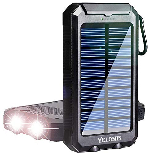 Phone Solar Charger,Yelomin 20000mAh Portable Outdoor Mobile Power Bank,Camping External Backup Battery Pack Dual USB 5V 1A/2A Outputs 2 Led Light Flashlight with Compass