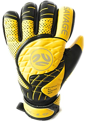 - FINGERSAVE Goalkeeper Gloves by K-LO - The Savage Goalie Glove Has Fingersave Protection in All 5-Fingers to Prevent Injury and Improve Shot Blocking. Super Sticky Palms.Youth & Adult Sizes. Yellow.