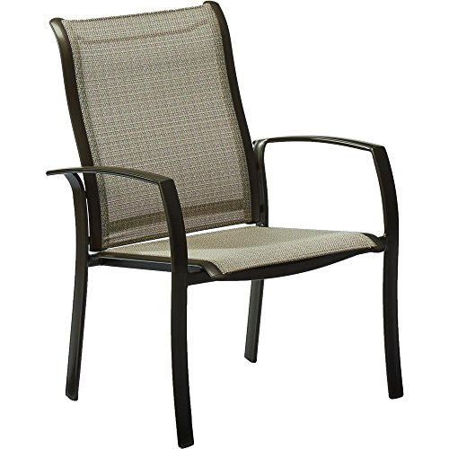 Hampton Bay FCA60401BM-2PK 2 Pk Aluminum Outdoor Dining Chair, Sunbrella Elevation Stone