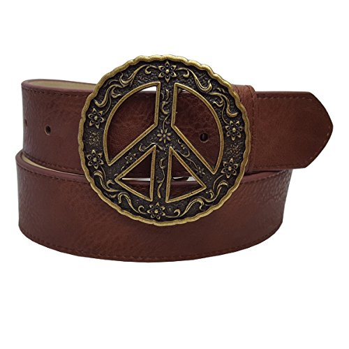 - Unique Peace Sign Buckle with a snap on Vegan Pebble grain belt in Brown M/L