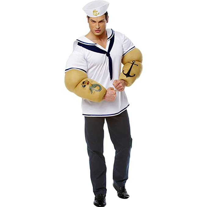 1930s Men's Costumes: Gangster, Clyde Barrow, Mummy, Dracula, Frankenstein Costume Culture Mens Sailor Shirt Costume with Detachable Arms Extra Large $51.52 AT vintagedancer.com