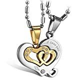Flongo His and Hers Couples I Love You Heart in Heart Pendant Necklace Stainless Steel Mens Womens, Gold