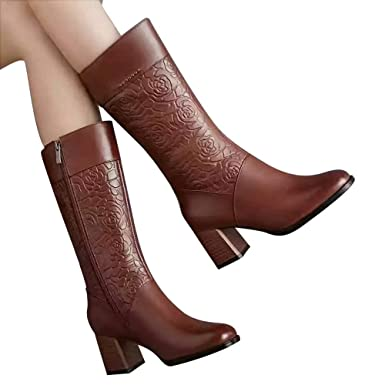 JiaMeng Zapatos de tacón Alto Mantener Abrigos de Cuero cálidos Zipper Botas Zapatos de Punta Redonda Botines Botas de tacón Alto para Mujer Ankle Boots: ...