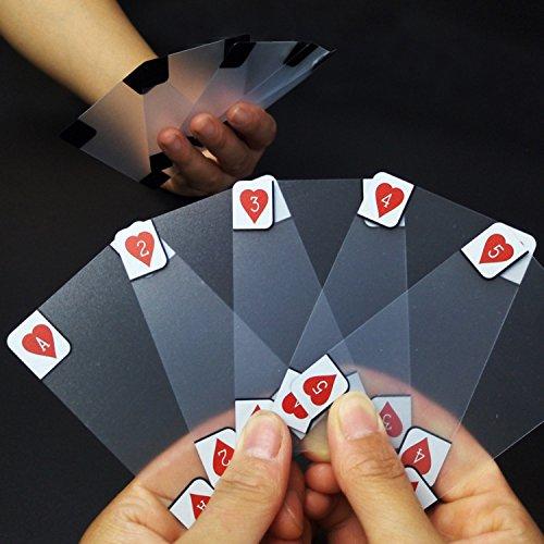 SODIAL Cartes a jouer Impermeables en Plastique Transparentes Creatrices Poker de Nouveaute Poker d'Index