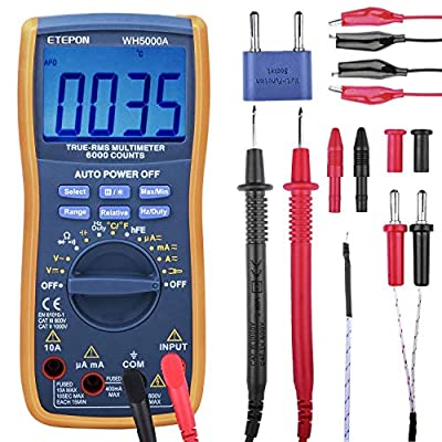 ETEPON Digital Multimeter True RMS 6000 Auto Raging Voltage Tester,Measures Voltage,Current, Resistance,Continuity,Frequency,Temperature, incl Diodes,Transistors