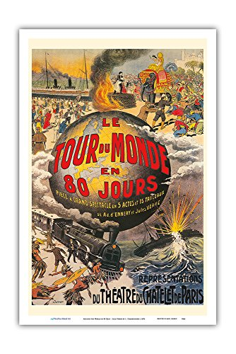 Pacifica Island Art Around the World in 80 Days (Le Tour du Monde en 80 Jours) - Jules Verne - Thétre du Chtelet - Vintage Theater Poster by L. Charbonnier c.1874 - Master Art Print - 12in x 18in ()