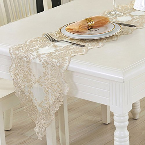 Tina Wedding Party Home Decoration Embroidered Lace Table Runner And Scarves Light Gold, 12x48