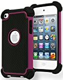 iPod Touch 4 Case, Bastex Hybrid Slim Fit Black Rubber Silicone Cover Hard Plastic Hot Pink & Black Shock Case for Apple iPod Touch 4, 4th Generation