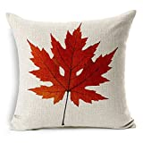 Maple Leaves Throw Pillow Covers - Wonder4 Decorative Fall Colorful Maple Leaves Cushion Decor Autumn Leaf Pillow Cases Cotton Linen for Home Sofa Bedding 18x18 inches Set of 4