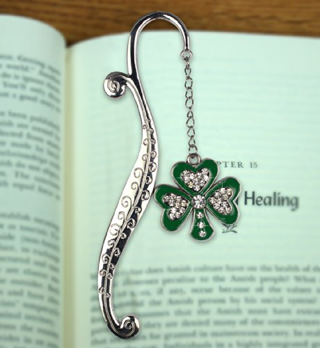 Shamrock Jewels - Irish Bookmark with Green Shamrock and Jewels - Shamrock Bookmark - Metal Bookmark - Great Irish Gift For Anyone