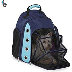 GRC[TM] Pet Carrier Backpack 20lbs 10kg Dog Cat Navy Blue Bag Travel Soft Sided Comfort Tote Approved Airline Oxgord Breathable Backpack Small Astronaut Transparent Portable Cage