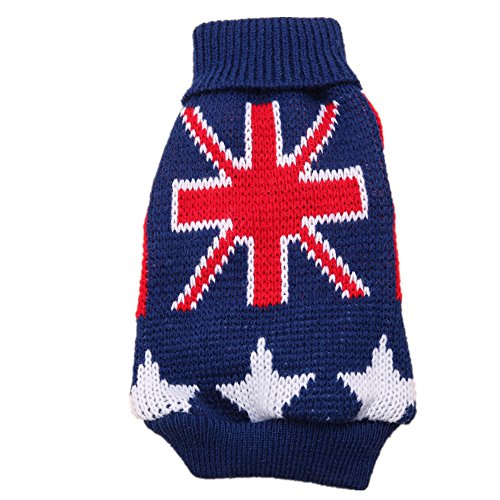 GOLDBELL Autumn Winter Union Jack Dog Pet Sweater Pet Jumper Kintted Dog Jumper For Small Dogs,Turn-down Collar Torx Flag Dog Clothes Sweater Teddy Dog Accessories Blue