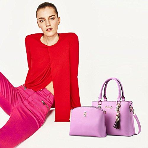2018 Blue Shoulder Set Fashion NICOLE for Adornment New Practical 2pcs Handbag Leather Girls PU amp;DORIS Tote Bag Pink with Handbag 5qnRwSf