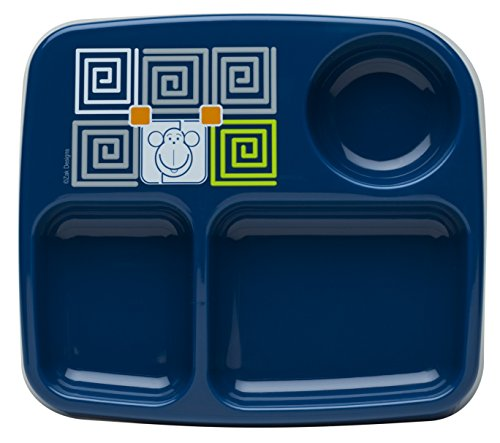 Zak! Designs Toddlerific 3-Section Toddler Plate with Blue Monkey, No-tip Wide Base, Break-Resistant and BPA-Free Plastic