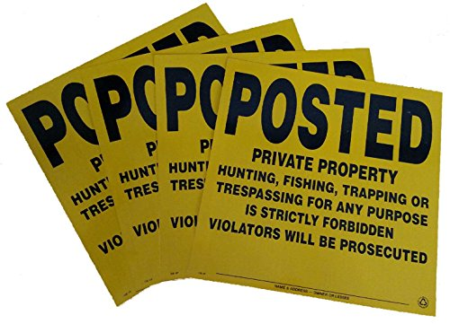 4 Pack Aluminum Posted Private Property Signs (Yellow)