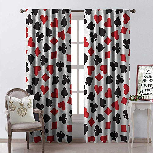 Hengshu Poker Window Curtain Fabric Heart Spades Diamonds and Clubs Pattern in Playing Card Suit Themed Illustration Drapes for Living Room W108 x L108 Red Black - Poker Spades Clubs Hearts Diamonds