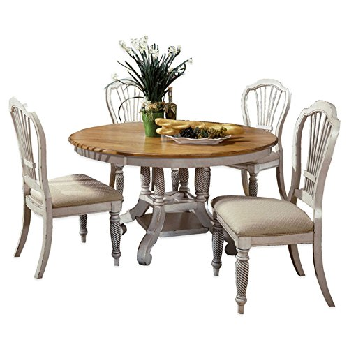5-Piece Round Dining Set in Antique White